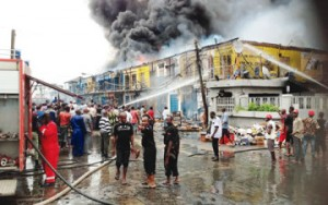 Tragedy Struck, Fire razes 150 spare parts shops in Apapa