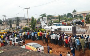Omotola husband's scrap plane causes panic in Lagos