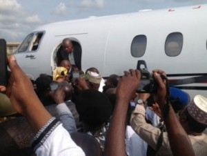 Exclusive photos of Gov Danbaba Suntai's return to Nigeria