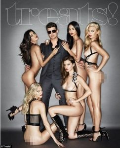 Robin Thicke covers Treats! Magazine with naked models