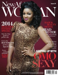 COVER DIVA: Omotola Jalade Glams up on the cover of  New African Woman Magazine, December Edition.