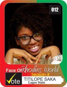 FRW (SEASON 4) CONTESTANT PROFILE: Meet Titilope Saka , Contestant No. 12
