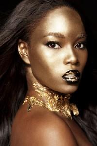 """Gold Rush"": Top Model, Damaris Lewis Looks Stunning In Metalize Lip Color And Golden Bronze Skin"