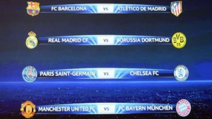 Manchester United have been drawn against Bayern Munich in the UEFA Champions League quarter-finals stages.