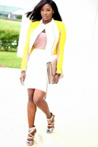 A Nigerian Fashionista, Agatha, Looks Stunning In Blazer With A Touch Of Yellow, Nude Cami & White Skirt