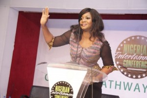 Omotola Jalade-Ekeinde speaks at the 2014 Nigerian Entertainment Conference in Lagos-Nigeria