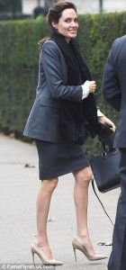 Angelina Jolie, 39,Displays Her Alarmingly Thin Legs As She Arrives In London For A Political Meeting