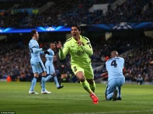 Champions League: Luis Suarez Hit City`s Net With Double| Manchester City 1-2 Barcelona
