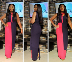 Photo : Dakore Akande Looking Stunning In This Colour-Block Dress