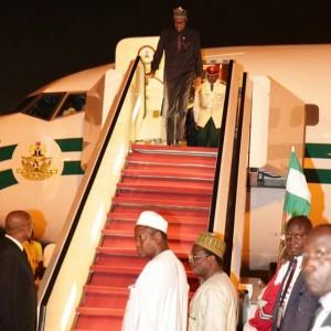 Photos : Pres. Buhari Arrives Nigeria After G7 Summit