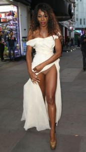 Photo : Singer Sinitta Flashes Underwear Stepping Out In High Slit Dress