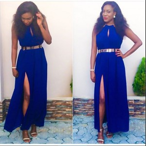 Photos : Chika Ike  Stuns In Blue Thigh-high Slit Dress