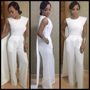 Photos : Toke Makinwa Stuns In White Jump Suit