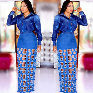 Photos : Toyin Lawani Stuns  In Ripped Denim Skirt