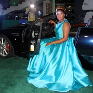 Photos : Omotola Stuns In Blue Gown At The Premiere Of Spectre In Lagos