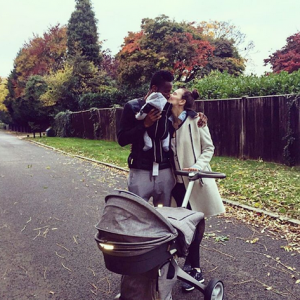 Photo : Mikel Obi & Girlfriend Share Kiss During Walk With Their Twins