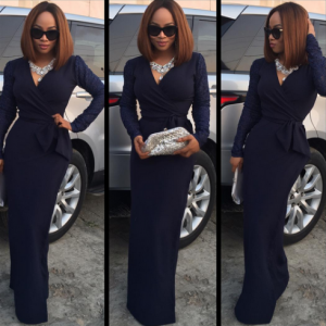 Toke Makinwa Stuns In Lovely Wrap Dress