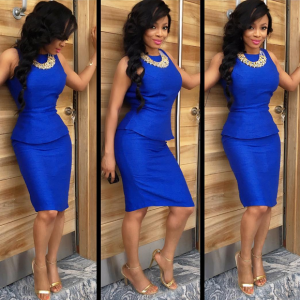 Toke Makinwa Shows Off  Her Curves In Blue