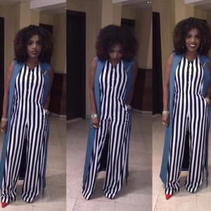 Annie Idibia Looks Stylish In Striped Jumpsuit