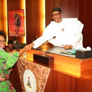 President Buhari Swears In Mrs. Winifred Oyo-Ita As Head Of Service