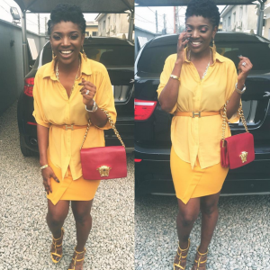 Photos :  Annie Idibia Stuns In Yellow Dress