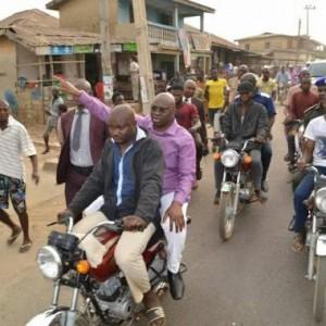 Ekiti State Gov. Fayose Rides On Okada To Inspect Water Fetching Points