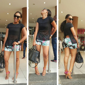 Ebube Nwagbo Steps Out In Floral Shorts And Sheer Blouse