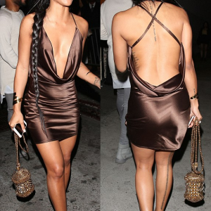 Photos : Karrueche Steps Out In Backless Gown