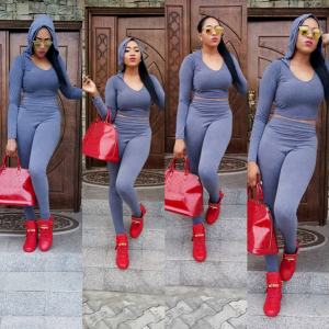 Rukky Sanda Flaunts Curves In Grey Outfit