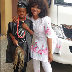 Photos: Mercy Aigbe And Son Stylish In Traditional Outfits