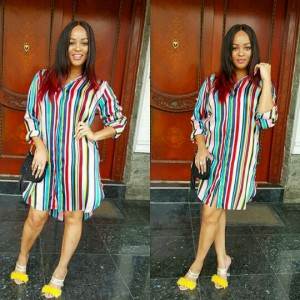 Adaeze Yobo Looks Gorgeous In Colorful Shirtdress