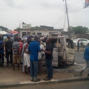 Photos: Commercial Bus Caught Fire At Ojota Area In Lagos State