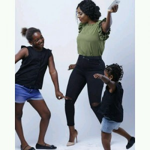 Check Out Photo Of Annie Idibia With Her Cuties, Isabella and Olivia