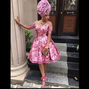 Toke Makinwa Stuns In Pink For Her Friend's Wedding In Lagos (Photos)