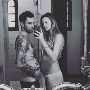 Adam Levine & Wife Behati Prinsloo Twinning With Her Baby Bump