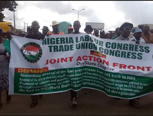Photos; NLC Protesters Take Over Major Roads In Oyo And Ondo States