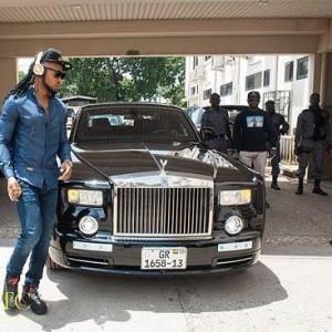 Photos: Singer Flavour Arrives At Ghana Media Houses In Rolls Royce