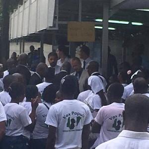 Nigerians Storm German Embassy In Lagos In Protest Against President Buhari. (Photos)