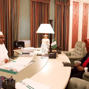 PHOTOS: Buhari Back In His Office This Morning