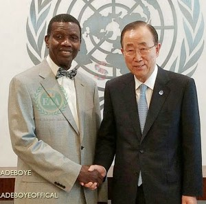 Pastor Enoch Adeboye meets with Mr Ban Ki-Moon, Secretary General, United Nations