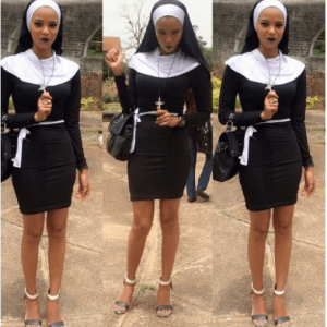 Photos: Final Year OAU Student Dressed As A Sexy Nun Turns Heads