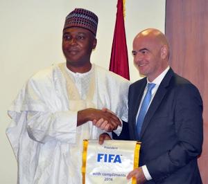 Photos: Senate President, Bukola Saraki Receives FIFA Pres. Gianni Infantino