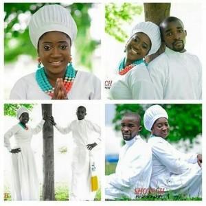 Celestial Couple Rock Their White Church Outfit In Pre-wedding Photos