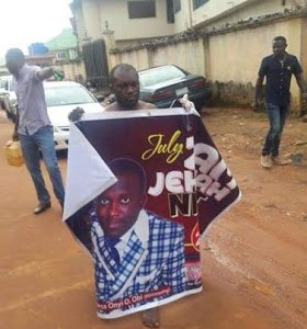 Photos : Pastor stripped Naked in Asaba after he was caught having sex with a married woman
