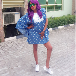 Photos : Toyin Aimakhu Steps Out In Short Denim Agbada And Sneakers
