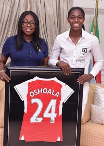 PHOTOS: Azeezat Oshoala Visits Wife Of Lagos State Gov., Bolanle Ambode