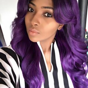 Photo: Lilian Esoro Rocks Purple Hair