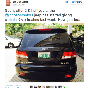 Nigerians Slam Presidential Aide On Twitter for Complaining About His Innoson Jeep