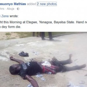 Photos: Thief caught in the act slumps and pretends to be dead to avoid beating