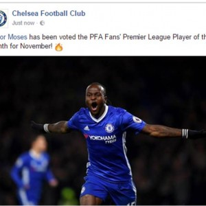 Victor Moses Wins Premier League Player Of The Month Award For November